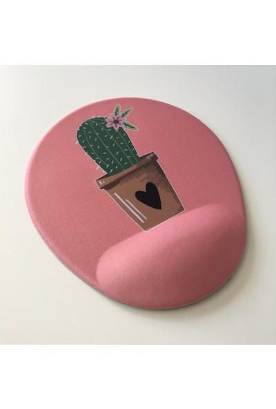 Office Küp Bilek Destekli Mouse Pad Pembe Kaktüs