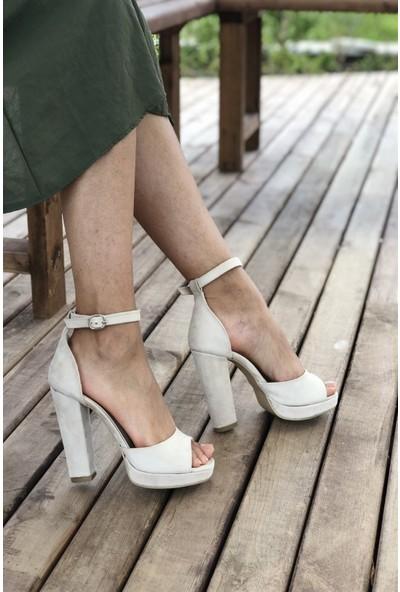 Pembe Potin Bej Nubuk Kadın Ayakkabı