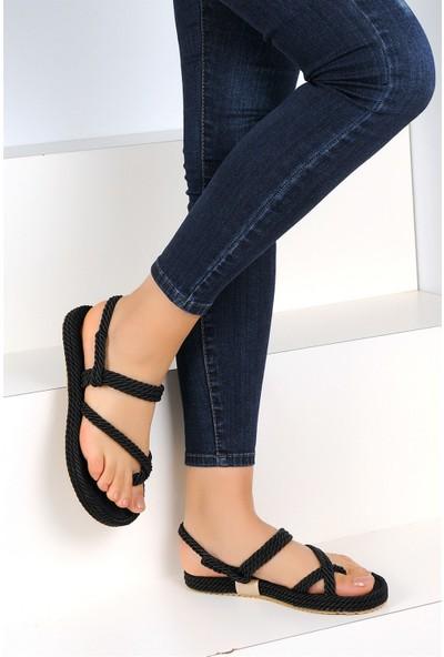 Pembe Potin Siyah Kadın Sandalet