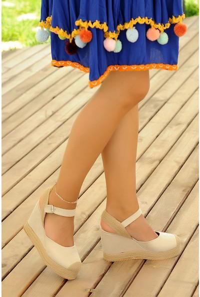 Pembe Potin Bej Nubuk Kadın Topuklu Ayakkabı