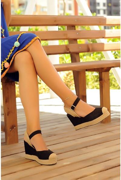 Pembe Potin Siyah Nubuk Kadın Topuklu Ayakkabı