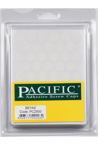 Pacific Yapışkanlı Vida Tapası 14Mm Beyaz