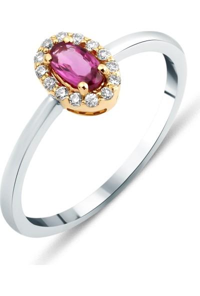 Sira Mücevherat Pink Safir Yüzük - Beyaz ve Rose Altın