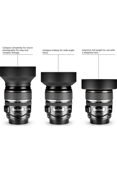 Tianya Canon 1000D 1100D 18-55 mm Lens İçin 58 mm 3 Kademeli Kauçuk Parasoley