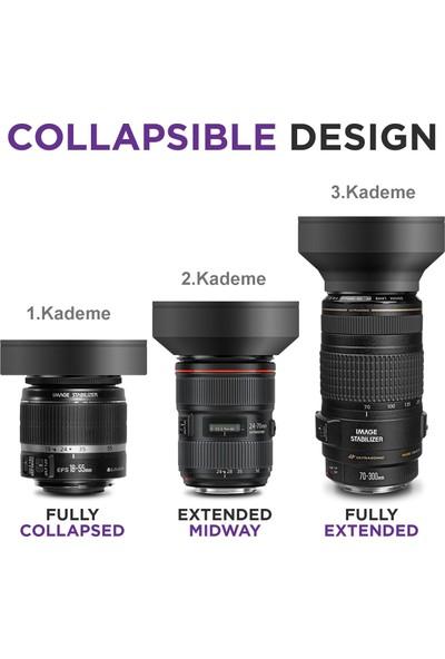Tianya Nikon 18-140 mm Lens İçin 67 mm 3 Kademeli Ayarlanabilir Kauçuk Parasoley