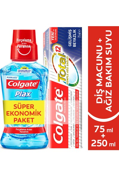 Colgate Total Komple Gelişmiş Beyazlık Diş Macunu 75 ml + Colgate Plax Nane Ferahlığı Gargara 250 ml