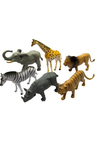 Yeşil Oyuncak 6 Parça 8 Inc Oyuncak Vahşi Hayvanları Seti Büyük Boy 20 cm
