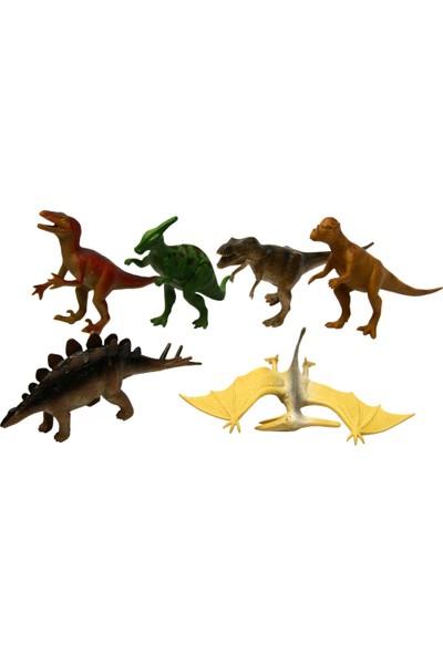Yeşil Oyuncak 6 Parça 5 Inc Oyuncak Dinazor Hayvanları Seti Dinozor Orta Boy 15 cm
