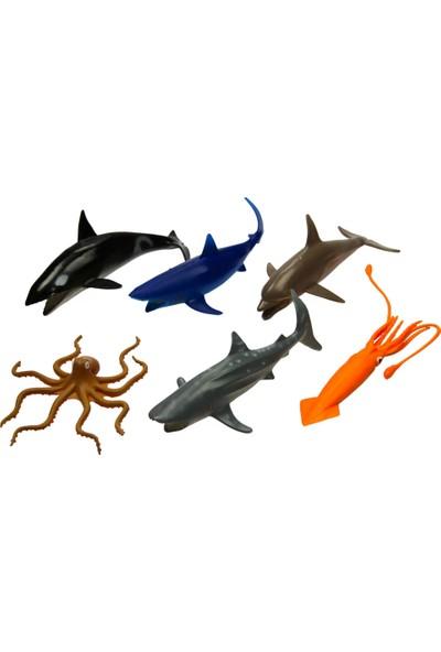 Yeşil Oyuncak 6 Parça 5 Inc Oyuncak Deniz Hayvanları Okyanus Canlıları Seti Orta Boy 15 cm