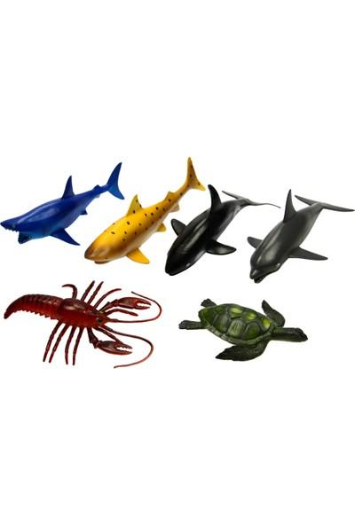 Yeşil Oyuncak 6 Parça 8 Inc Oyuncak Deniz Hayvanları-Okyanus Canlıları Seti Büyük Boy 20 cm