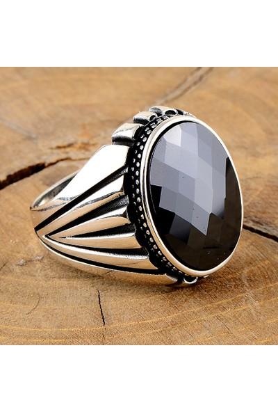 Mercan Silver Gümüş Siyah Zirkon Taşlı Erkek Yüzük