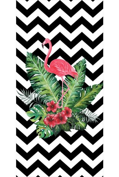 Resmi̇ro Flamingo Çiçek Desenli Dijital Baskılı Halı