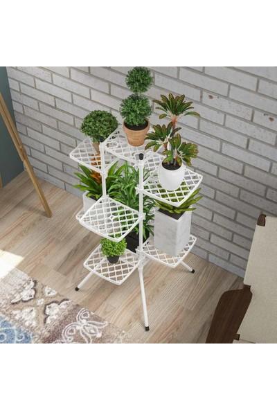 Moniev 10'lu Çiçek Bahçesi Ev Balkon Bahçe Saksı Standı Çiçeklik
