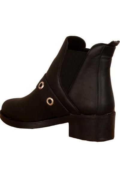 Ayakcenter Arc Düz Taban Kışlık Kısa Sade Kadın Bot Ayakkabı