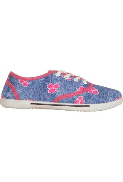 Lotix Laci-Pembe Keten Yazlık Günlük Kadın Spor Ayakkabı
