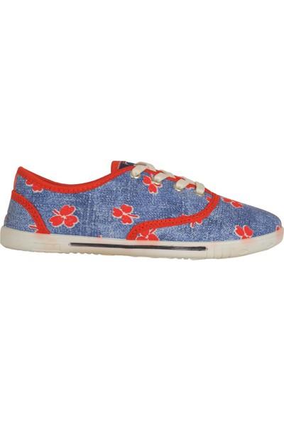 Lotix Laci-Kırmızı Keten Yazlık Günlük Kadın Spor Ayakkabı
