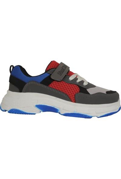 Tomwins Füme-Kırmızı Cırtlı Yazlık Rahat Erkek Çocuk Spor Ayakkabı