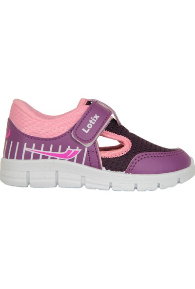 Lotix 3600 Lila-Pudra Cırtlı Yazlık Bebe Kız Çocuk Spor Ayakkabı