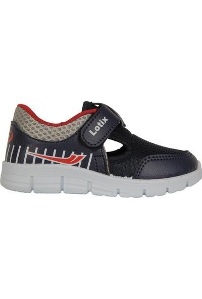 Lotix 3600 Laci-Gıri Cırtlı Yazlık Bebe Erkek Çocuk Spor Ayakkabı