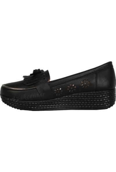 Altın Ökçe Bal Siyah 3,5 Cm Dolgu Taban Yazlık Kadın Ayakkabı