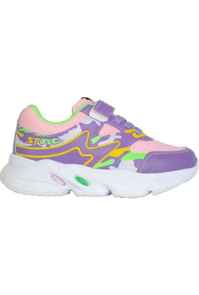 Twitto 040 Mor-Pudra Cırtlı Yazlık Günlük Kız Çocuk Spor Ayakkabı
