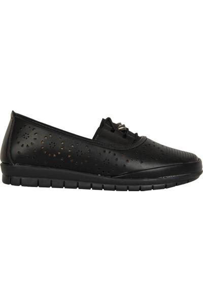 Wanetti 917 Siyah Ortopedik Yazlık Günlük Kadın Ayakkabı