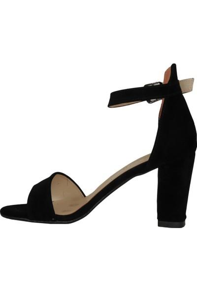 Byn Ayışığı Siyah Süet Tek Bant Kadın Sandalet Ayakkabı