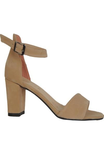 Byn Ayışığı Krem Süet Tek Bant Kadın Sandalet Ayakkabı