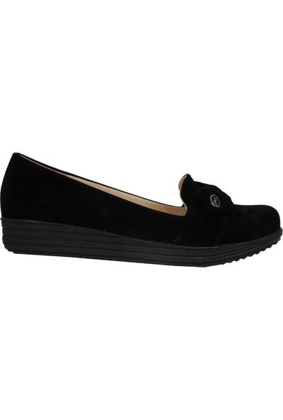 Elenora Siyah Süet 3Cm Topuk Günlük Kadın Ayakkabı