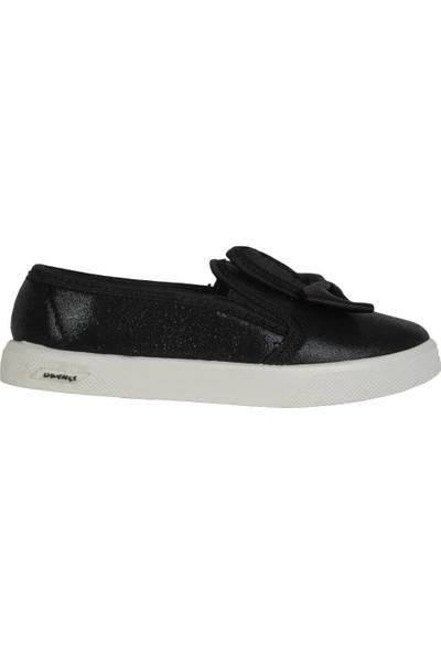 Dayked 4000 Siyah Keten Yazlık Kız Çocuk Babet Ayakkabı