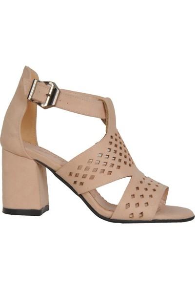 Beyazıd 00848 Pudra 6,5Cm Topuklu Yazlık Kadın Sandalet Ayakkabı