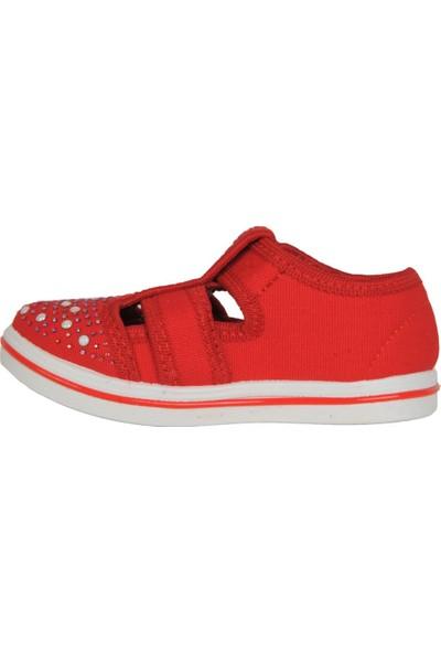 Walker Kids Kırmızı Cırtlı Günlük Kız Çocuk Sandalet Ayakkabı