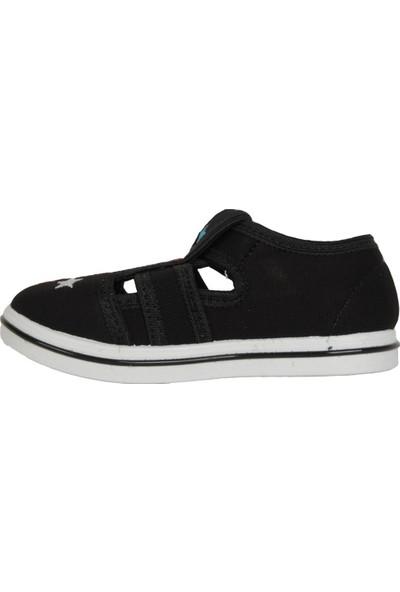 Walker Kids Siyah Cırtlı Günlük Erkek Çocuk Sandalet Ayakkabı