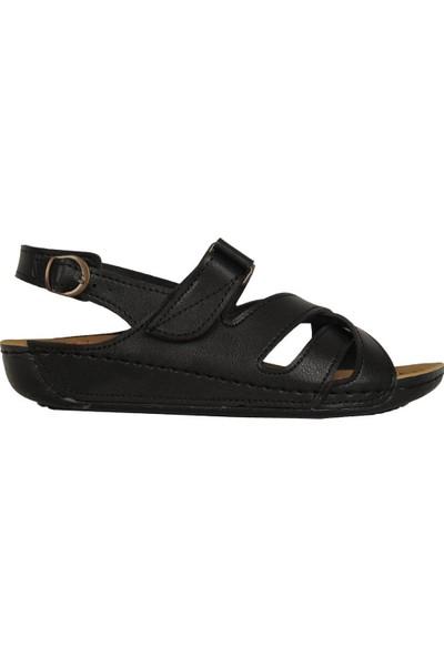 N Step 08091Zn Siyah Ortopedik Yazlık Kadın Sandalet Ayakkabı