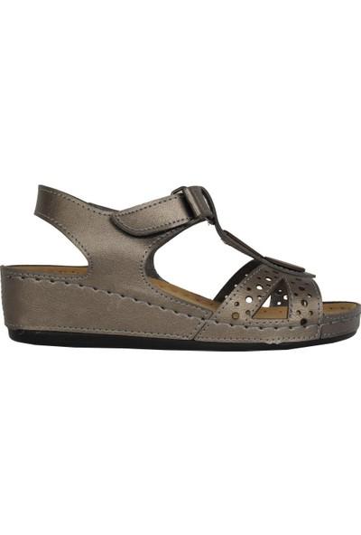 N Step 09268Zn Platin Ortopedik Yazlık Günlük Sandalet Ayakkabı