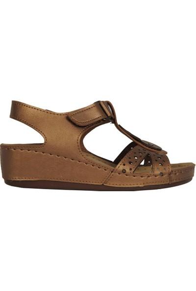N Step 09268Zn Bakır Ortopedik Yazlık Günlük Sandalet Ayakkabı