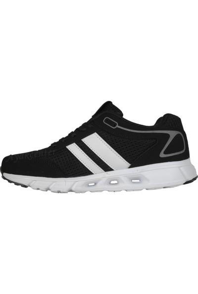 N Step Lucky Siyah-Beyaz Yazlık Yürüyüş Koşu Erkek Spor Ayakkabı