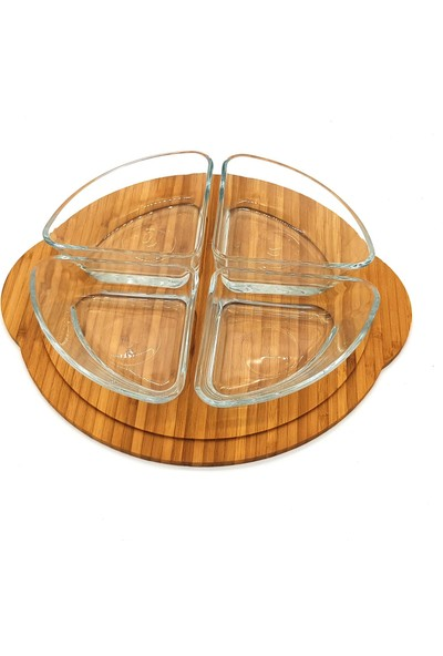 Ultraform Bambu Kapaklı Kahvaltılık Set Yuvarlak