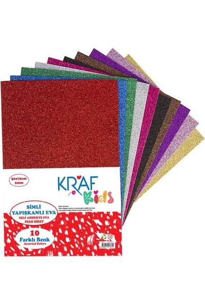 Kraf Kids Simli Yapışkanlı Eva 50 x 70 cm Karışık 10 Renk