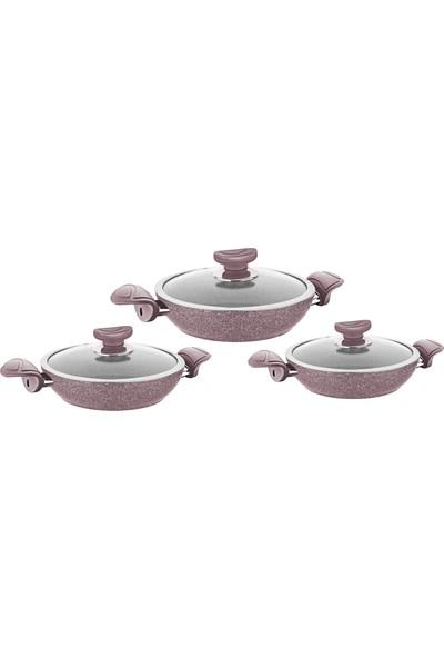 Oms Granit Sahan Set 6 Parça 18-20-22 cm Kahverengi 3004040506SKAH