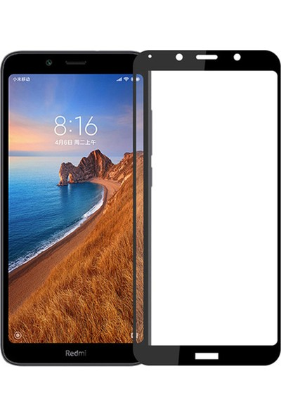 Microsonic Xiaomi Redmi 7A Tam Kaplayan Temperli Cam Ekran Koruyucu Siyah