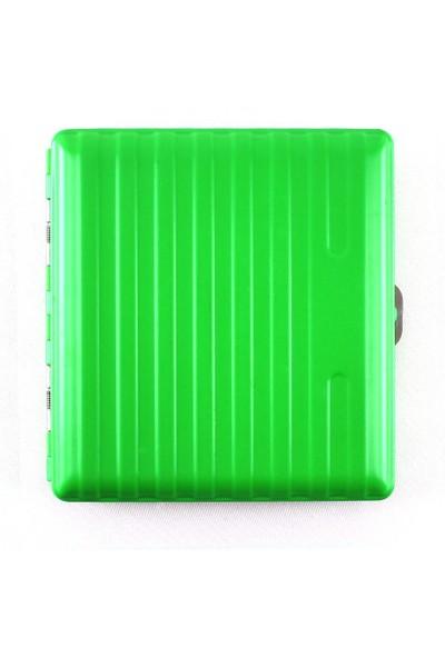 Champ Bavul Desen Yeşil Metal Sigara Tabakası 20Li