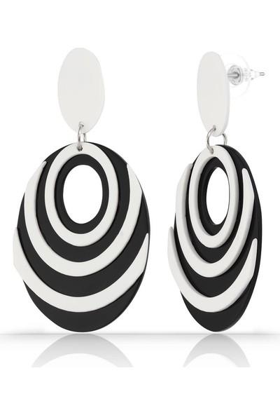 Herisson Siyah Beyaz Çizgili Damla Küpe DPK5061