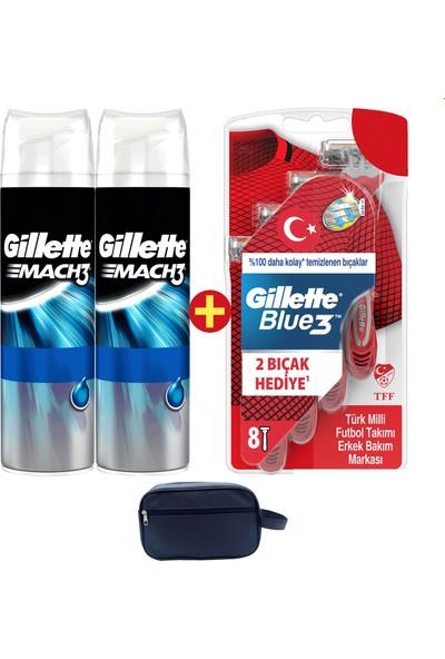 Gillette Blue3 16'lı Tıraş Bıçağı Milli Takım Özel Paketi + 2'li Jel + Seyahat Çantası)