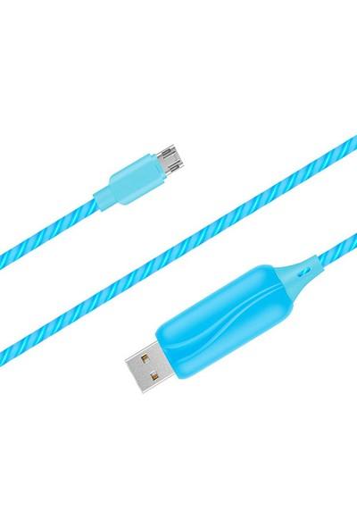 Doppler S-Cable Micro USB Işıklı, Mavi