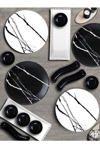 Keramika Siyah-Beyaz Mermer Kahvaltı Takımı 15 Parça 4 Kişilik 17950-51