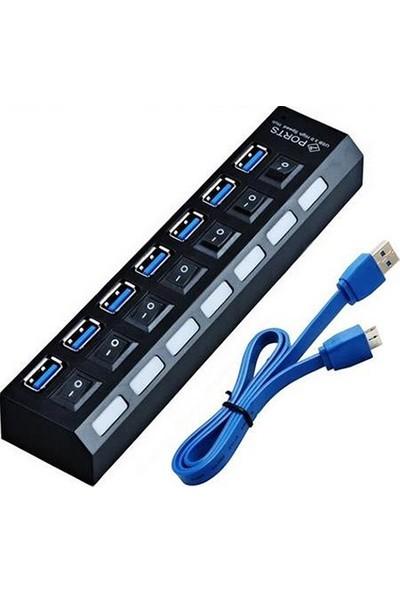 Alfais AL-4581 7 Port Usb 3.0 Hub Çoklayıcı Çoğaltıcı Switch Splitter