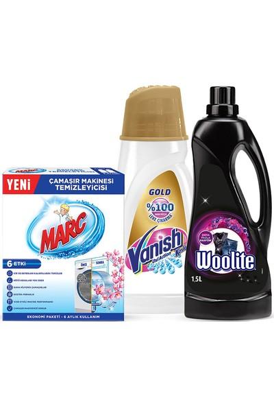 Woolite Çamaşır Deterjanı Koyu Renkler 1500 ml + Vanish Kosla Leke Çıkarıcı Gold 1000 ml + Marc Makine Temizleyici 2x250 ml