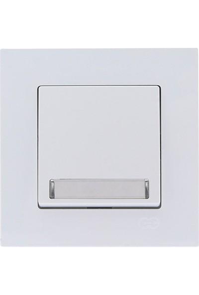 Günsan Eqona Beyaz Işıklı Etiketli Zil Butonu