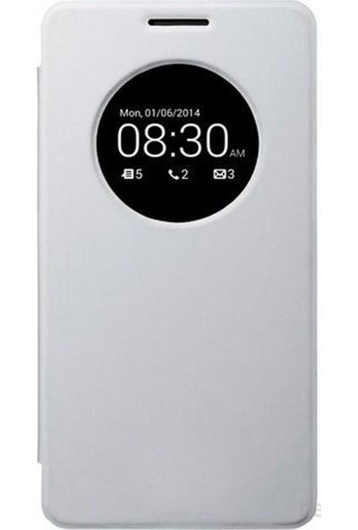 Case 4U Asus Zenfone 6 Flip Cover Beyaz (Uyku Modlu) - Kapaklı Kılıf*
